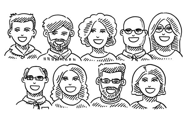 Business Team Portraits Drawing Hand-drawn vector drawing of Business Team Portraits. Black-and-White sketch on a transparent background (.eps-file). Included files are EPS (v10) and Hi-Res JPG. women stock illustrations