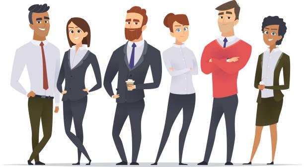 zespół biznesowy. profesjonalni pracownicy szczęśliwi partnerzy grupa zespół budowanie biura mężczyzn i kobiet menedżerów stojących znaków wektorowych - grupa przedmiotów stock illustrations