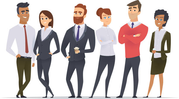 business team. professional workers happy partners group team building office male and female managers standing vector characters - grupa przedmiotów stock illustrations