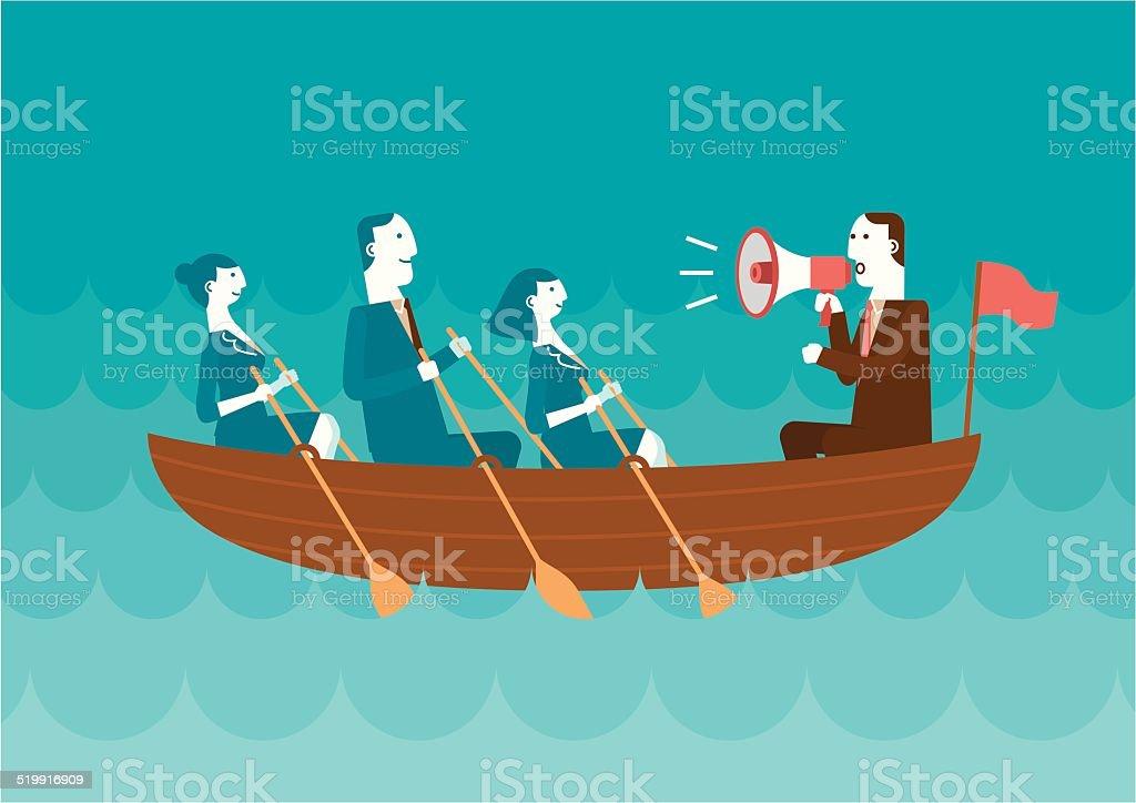 Équipe des affaires dans le même bateau - Illustration vectorielle