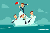 Businessman with spyglass lead business team sailing on paper boat in the ocean
