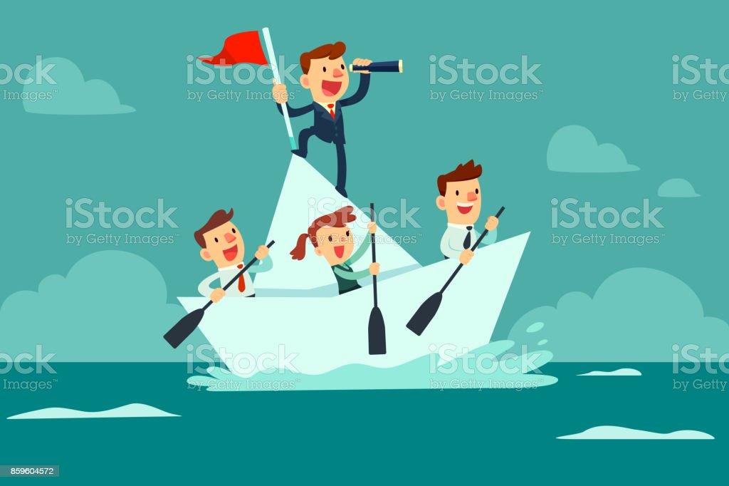 business team sailing on paper boat vector art illustration