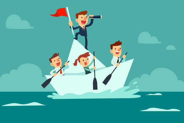 business team sailing on paper boat - team stock illustrations, clip art, cartoons, & icons