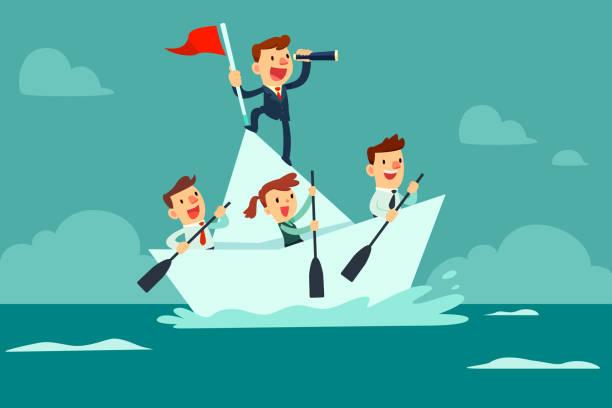 bildbanksillustrationer, clip art samt tecknat material och ikoner med business-team segling på papper båt - happy driver