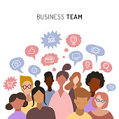 Business team, sharing ideas, talking, chatting. Teamwork of men and women, flat icons. Vector illustration of minimalistic people with speech bubbles. Used for web, social networks, users app.