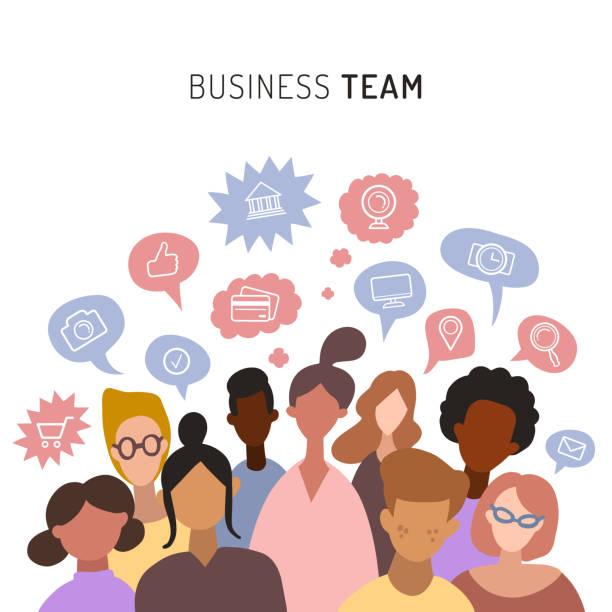 ilustraciones, imágenes clip art, dibujos animados e iconos de stock de equipo de negocios, compartir ideas, conversar. trabajo en equipo de los hombres y mujeres, iconos planos. ilustración de vector de personas minimalistas - reunión evento social