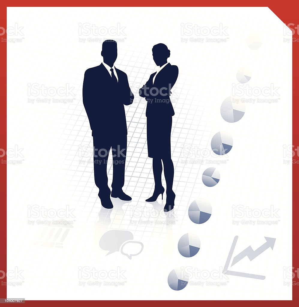 business team silhouettes on corporate background royalty-free stock vector art
