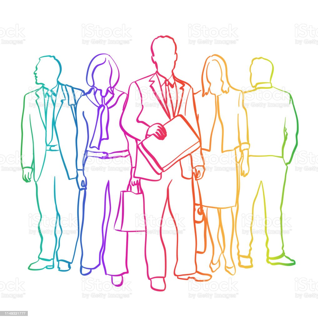 Business Team Sketch Rainbow Stock Illustration - Download Image Now