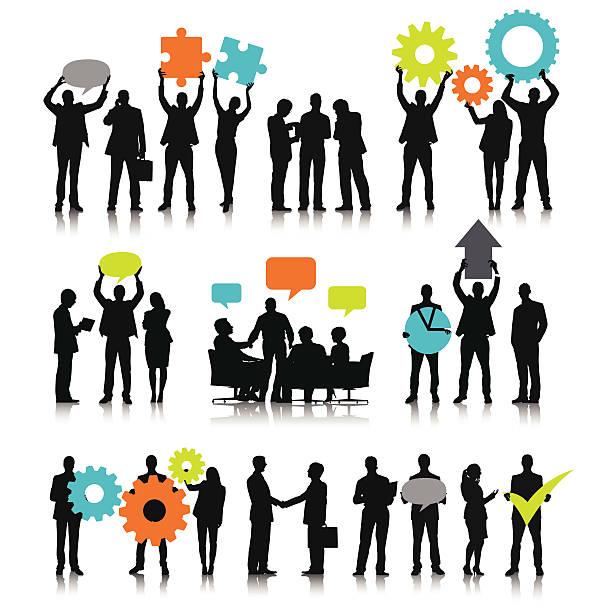 ilustraciones, imágenes clip art, dibujos animados e iconos de stock de equipo de negocios con redes sociales de burbujas. - reunión evento social