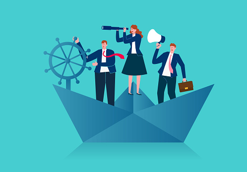 Business team standing on a paper boat sailing in the ocean and looking for business opportunities, business team and leadership concept illustration