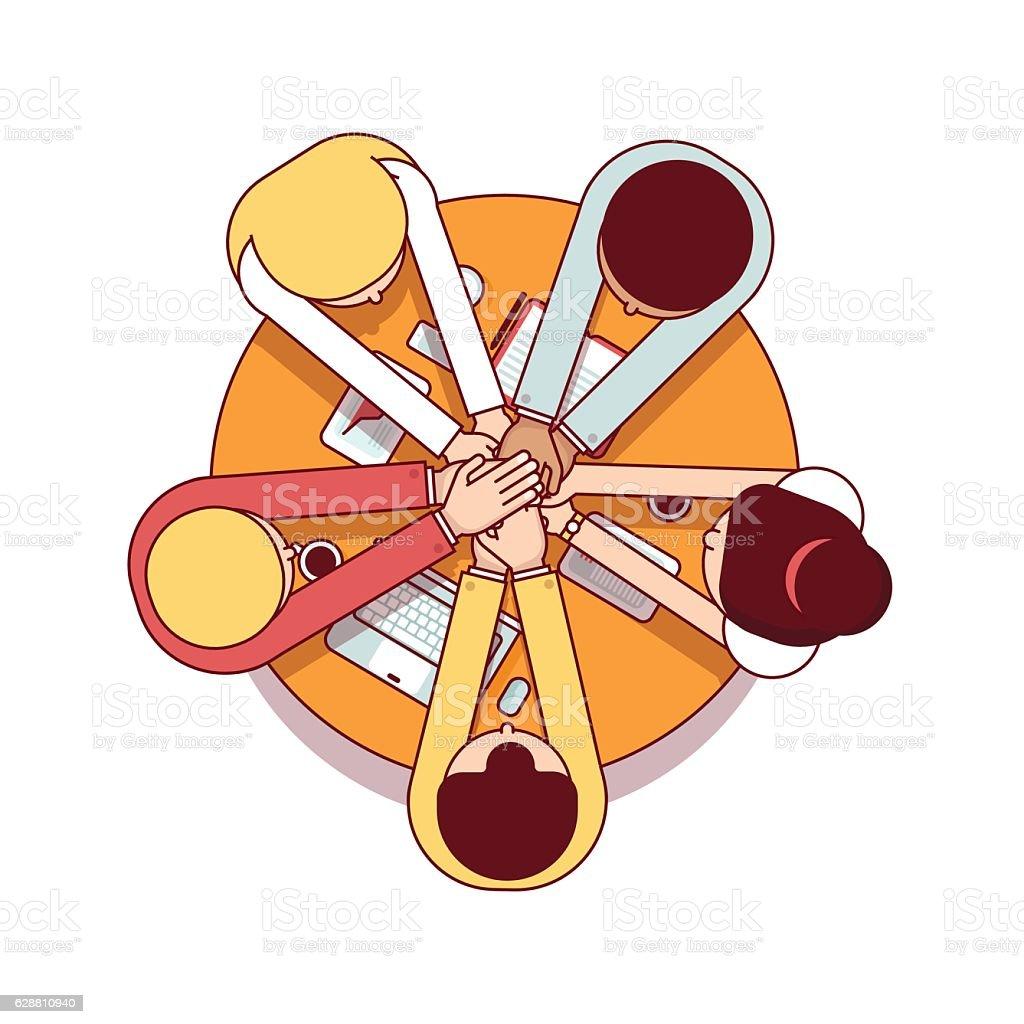 Business team starting up work together vector art illustration