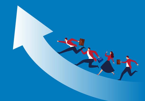 business-team kämpft bis laufen - laufführer stock-grafiken, -clipart, -cartoons und -symbole