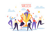 Business Team Success, Achievement Concept. Flat People Characters with Prize, Golden Cup. Office Workers Celebrating with Big Trophy. Vector illustration