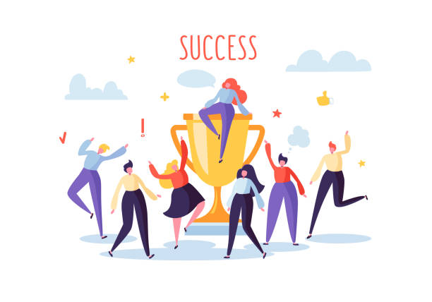 ilustrações de stock, clip art, desenhos animados e ícones de business team success, achievement concept. flat people characters with prize, golden cup. office workers celebrating with big trophy. vector illustration - comemoração conceito
