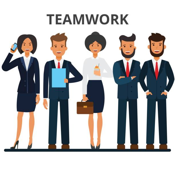 Business team. Teamwork. A group of businesspeople. Businessman and businesswoman characters. Flat style vector illustration isolated on white background. Business team. Teamwork. A group of businesspeople. Businessman and businesswoman characters. Flat vector illustration isolated on white background. isolated color stock illustrations