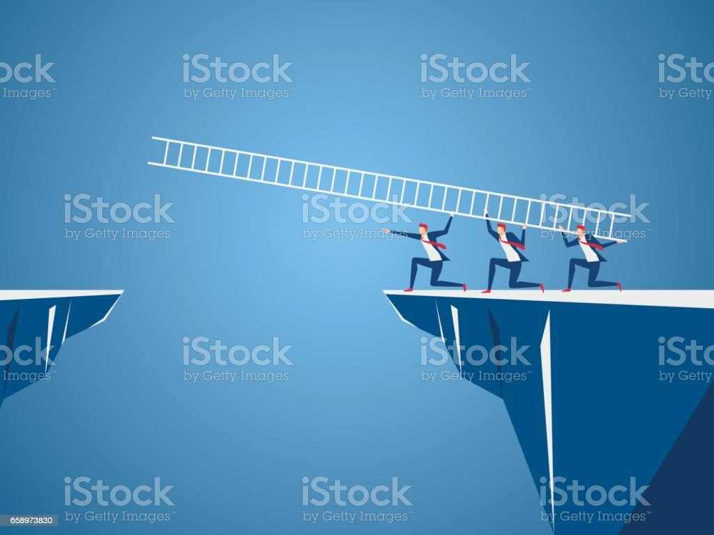 Business team using ladder to cross through the gap between hill. Business Teamwork ,risk and success concept. vector art illustration