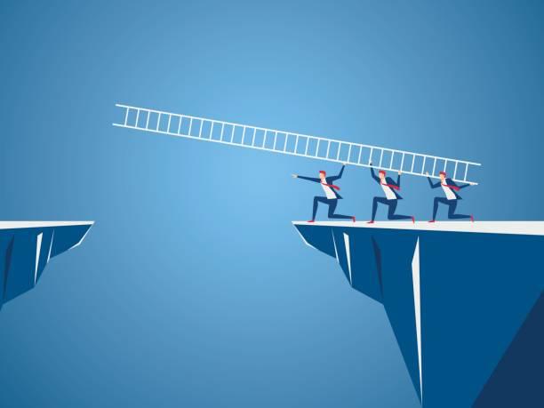 Business team met behulp van de ladder te steken door het gat tussen de heuvel. Bedrijfsconcept Teamwork, risico's en succes.vectorkunst illustratie