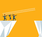 Business team using ladder to cross through the gap between hill. Business Teamwork ,risk and success concept. - Illustration