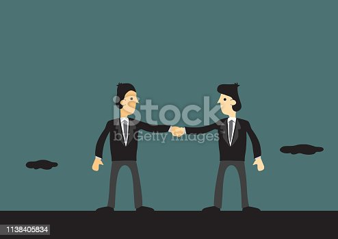 Two cartoon man wearing business suits joined in hands. Concept vector illustration for business team and teamwork.