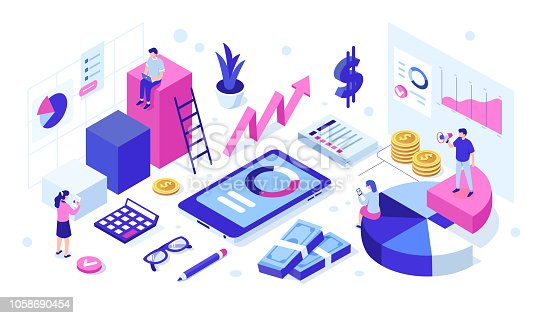 Financial business team concept with characters. Can use for web banner, infographics, hero images. Flat isometric vector illustration isolated on white background.