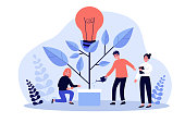 Business team watering innovation plant, growing tree with lightbulb. People having idea for eco future, environment, electricity. Flat vector illustration for teamwork, economy, climate concept