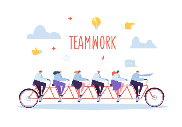 business team work and cooperation concept. flat people characters riding six person tandem bicycle. man and woman collective performance. vector illustration - koordynacja stock illustrations