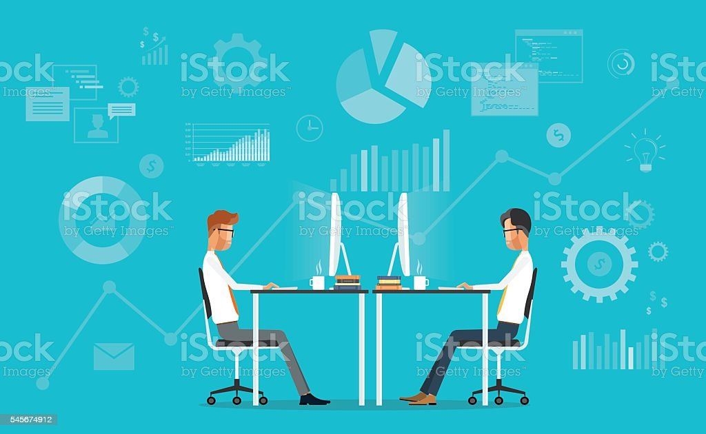 business team working concept and two business meeting on graph background vector art illustration