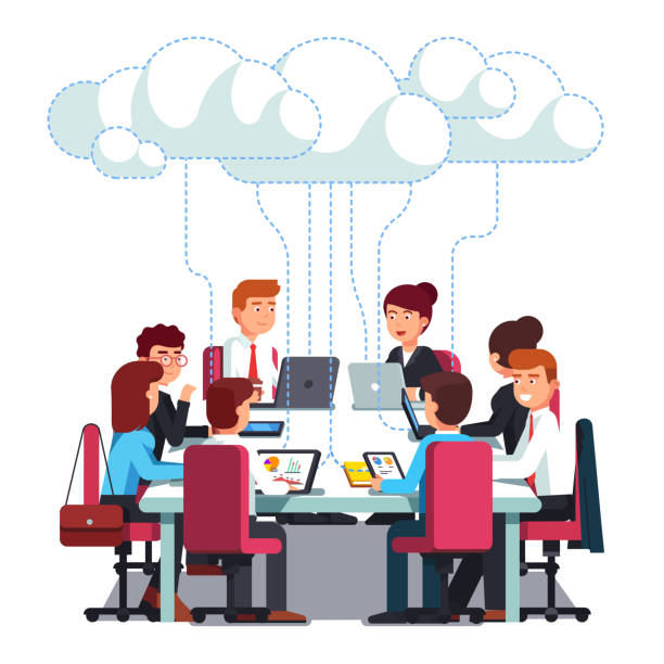 Business team working on IT startup business. Flat vector clipart illustration vector art illustration