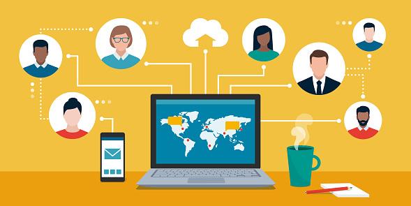 Business team working remotely online