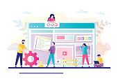 Business team working together on web page design. People building website interface on computer. Concept of website builder, development,teamwork. Characters in trendy style. Flat vector illustration