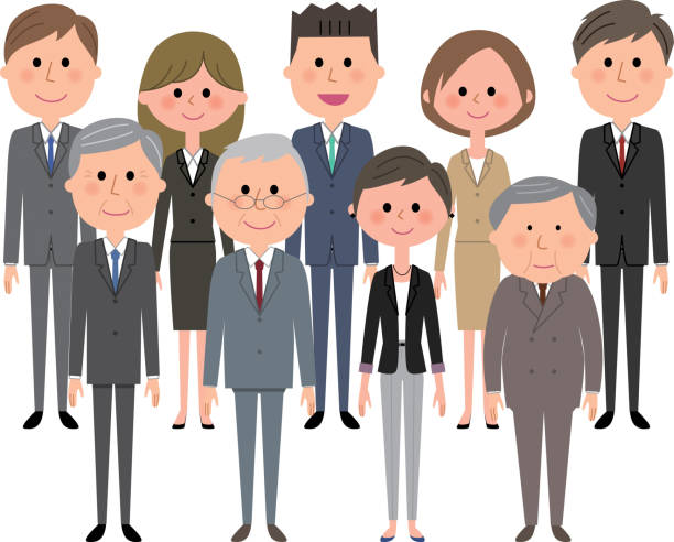 ビジネス チームは、スーツの人 - ビジネスマン 日本人点のイラスト素材/クリップアート素材/マンガ素材/アイコン素材