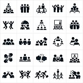 A set of icons representing several different business teams in action. The teams represent employees working together to accomplish business objectives.