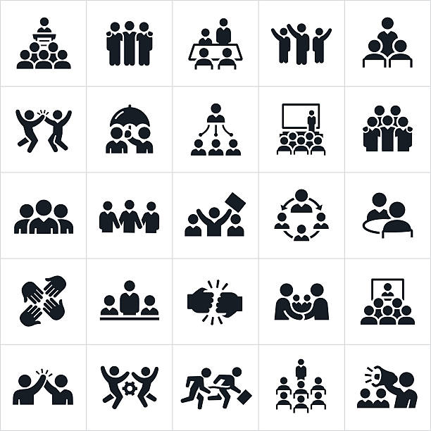 business teams icons - office job stock illustrations, clip art, cartoons, & icons
