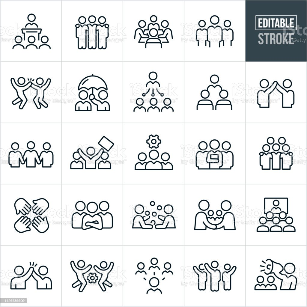 Business Teams Thin Line Icons - Editable Stroke - Векторная графика Employee роялти-фри