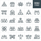 A set of business teams icons that include editable strokes or outlines using the EPS vector file. The icons business teams, groups of workers, bosses, managers, business people, teamwork, working together, businessmen, meetings, trainings, success, collaboration, high five, arms around shoulders and leadership to name a few.
