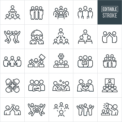 Business Teams Thin Line Icons - Editable Stroke clipart