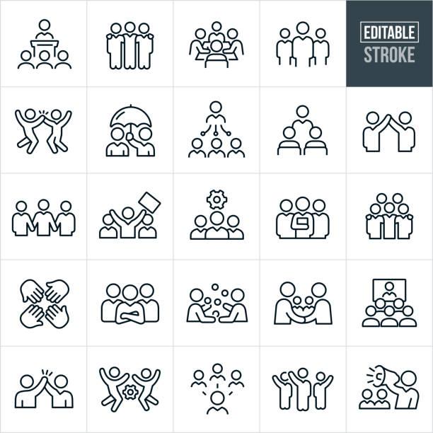 비즈니스 팀 선 아이콘-편집 선 - 사람들 stock illustrations