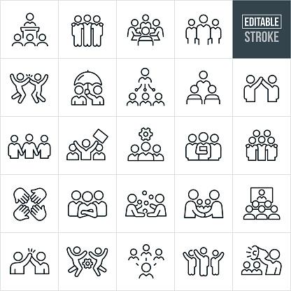 Business Team Tunn Linje Ikoner Redigerbar Stroke-vektorgrafik och fler bilder på Affärsman
