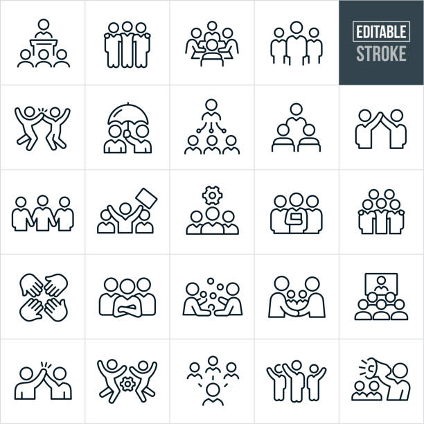 Business Teams Thin Line Icons - Editable Stroke A set of business teams icons that include editable strokes or outlines using the EPS vector file. The icons business teams, groups of workers, bosses, managers, business people, teamwork, working together, businessmen, meetings, trainings, success, collaboration, high five, arms around shoulders and leadership to name a few. person icon stock illustrations