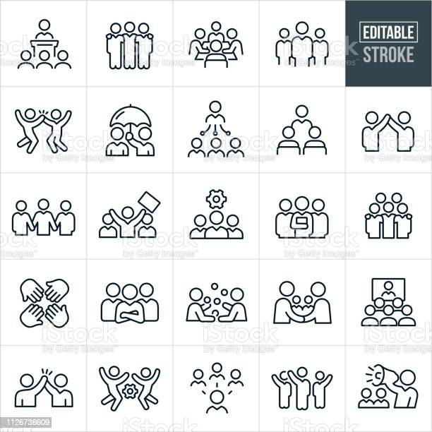 Business Teams Thin Line Icons Editable Stroke Stock Illustration - Download Image Now