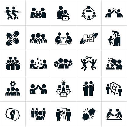 Business Teamwork and Partnership Icons