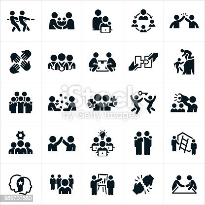 A set of business teamwork and partnership icons. The icons include several business people working together in partnership or as a team to accomplish an objective. They include a tug of war, partnership, handshake, high five, team awards, lifting a box, putting pieces of a puzzle together, climbing a mountain, juggling, climbing a ladder, fist bump and other related themes.