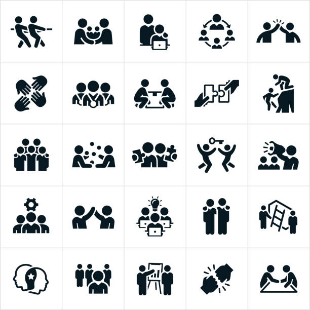 stockillustraties, clipart, cartoons en iconen met zakelijke teamwerk en partnerschap pictogrammen - leader