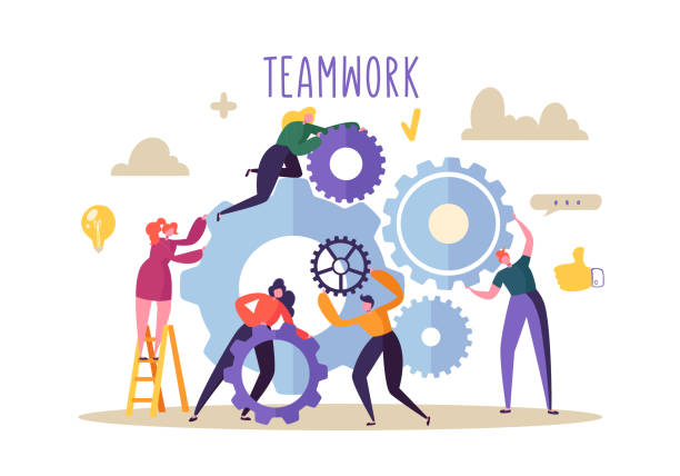 business teamwork concept. flat people characters running gears mechanism. engineering product development. vector illustration - team work stock illustrations
