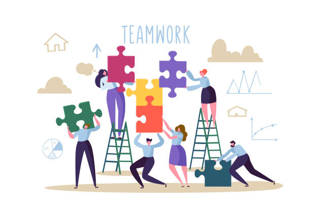 ilustrações de stock, clip art, desenhos animados e ícones de business teamwork concept. flat people characters with pieces of puzzle. partnership, solution cooperation. vector illustration - team