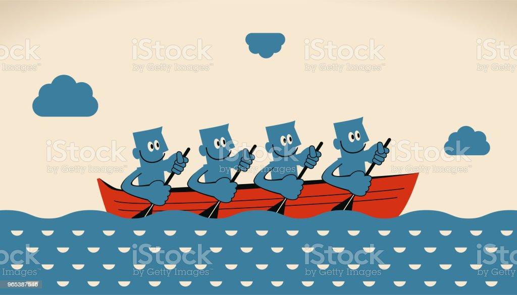 비즈니스 팀워크 개념, 노 보트와 노를 웃는 실업가의 그룹 - 로열티 프리 4 명 벡터 아트