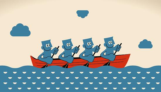 비즈니스 팀워크 개념 노 보트와 노를 웃는 실업가의 그룹 4 명에 대한 스톡 벡터 아트 및 기타 이미지