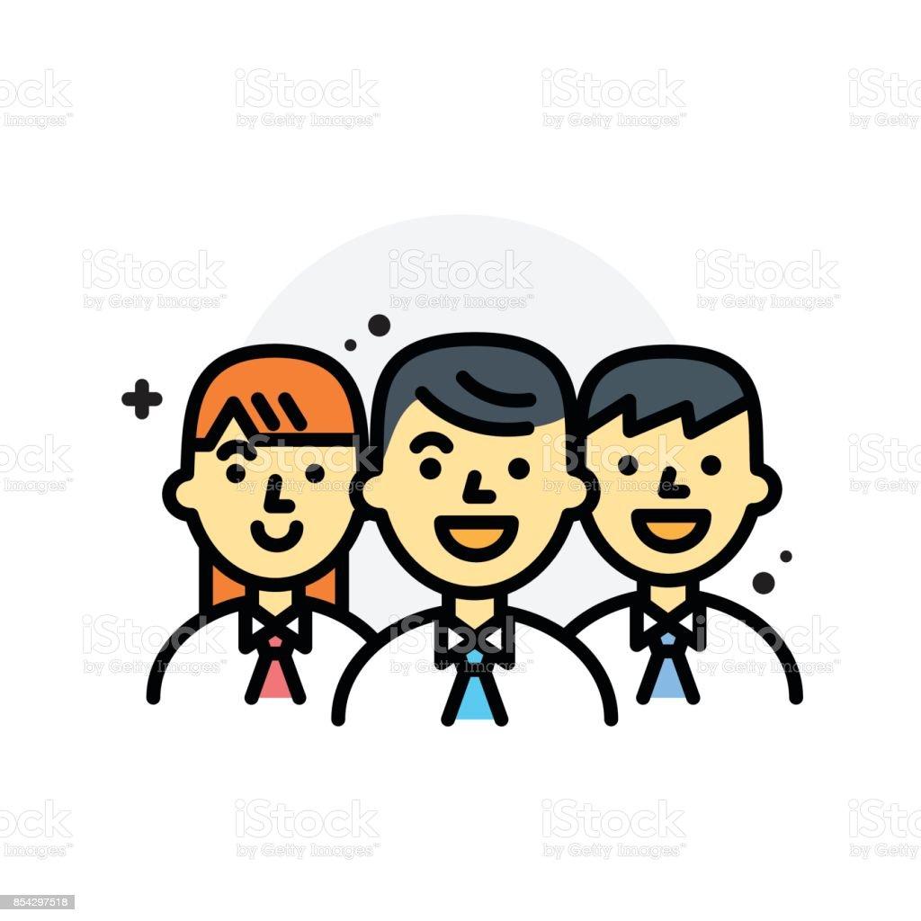 Concept de travail d'équipe d'affaires isolé ligne Vector Illustration icône modifiable - Illustration vectorielle