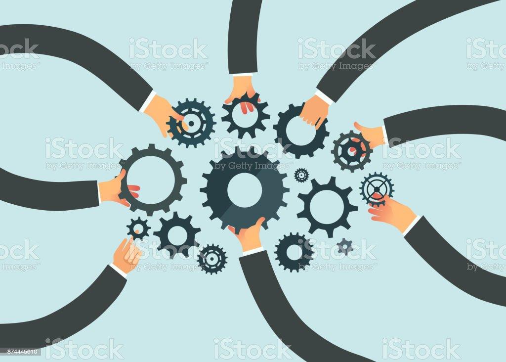 ビジネス チームワークの概念。歯車を保持している人の手 ベクターアートイラスト