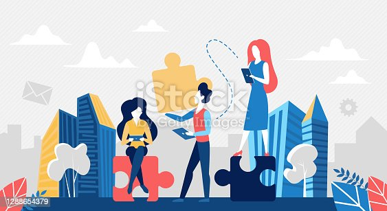 istock Business teamwork concept, people with puzzle jigsaw 1288654379